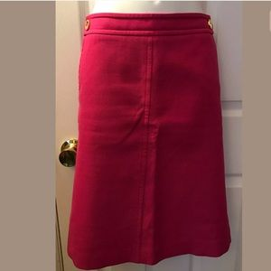 TALBOTS Pink textured Pencil Skirt Gold Button